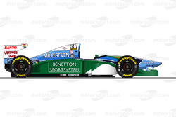 La Benetton B194 di Michael Schumacher del 1994<br/> Reproduction interdite, exclusivité Motorsport.