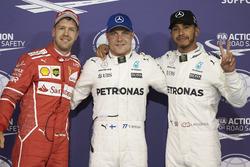 Top three qualifiers Valtteri Bottas, Mercedes AMG F1, Lewis Hamilton, Mercedes AMG F1, Sebastian Vettel, Ferrari