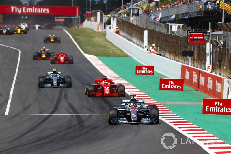 Lewis Hamilton, Mercedes AMG F1 W09, Sebastian Vettel, Ferrari SF71H, Valtteri Bottas, Mercedes AMG F1 W09 e Kimi Raikkonen, Ferrari SF71H
