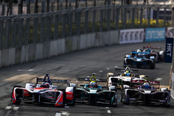 Felix Rosenqvist, Mahindra Racing, leads Oliver Turvey, NIO Formula E Team, Sam Bird, DS Virgin Raci