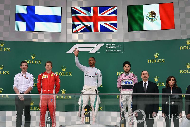 Kimi Raikkonen terminou em segundo e Sergio Pérez colocou a Force India no pódio na terceira posição