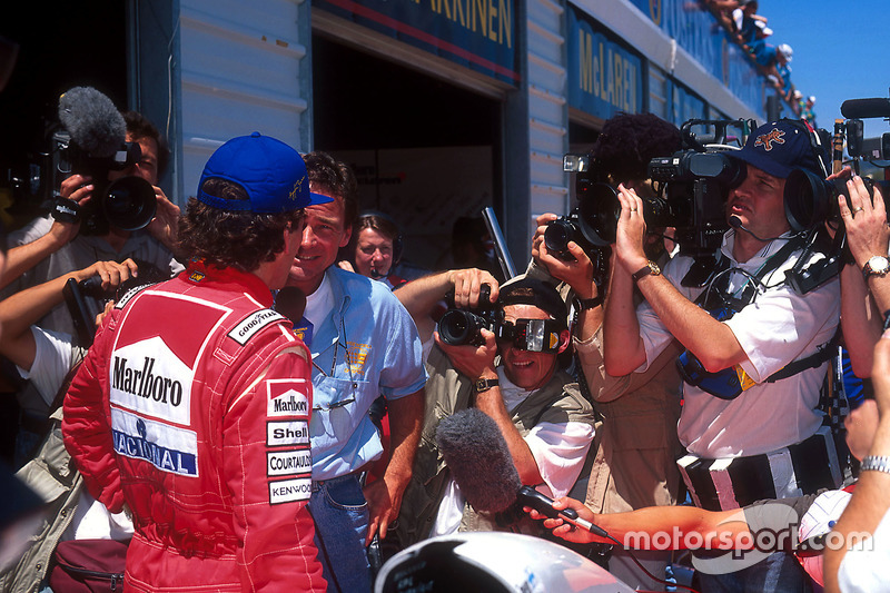 Ayrton Senna, McLaren is interviewed by Barry Sheene