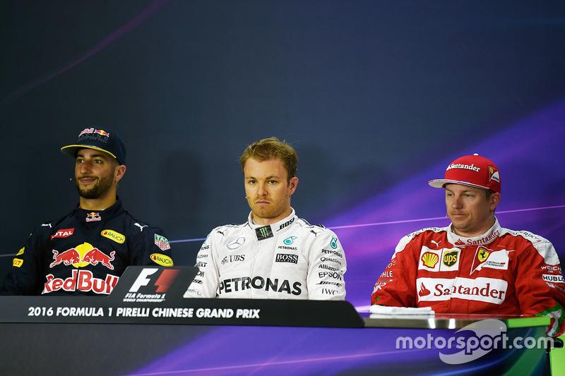 Pressekonferenz: Daniel Ricciardo, Red Bull Racing; Nico Rosberg, Mercedes AMG F1 Team; Kimi Räikkönen, Ferrari