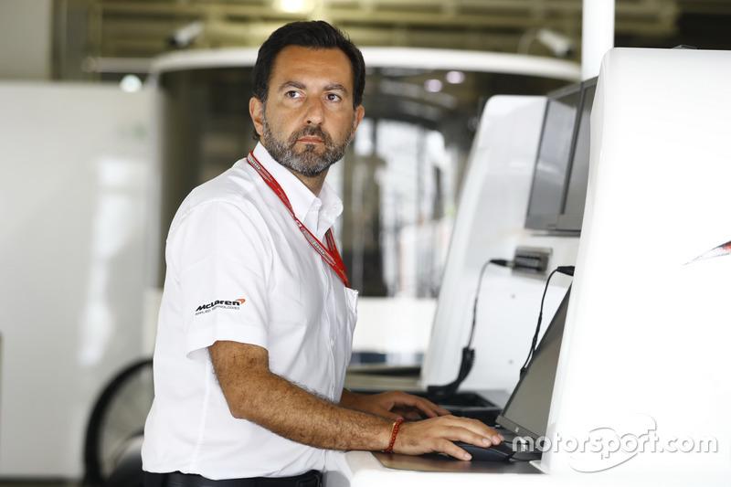 A McLaren team member at work