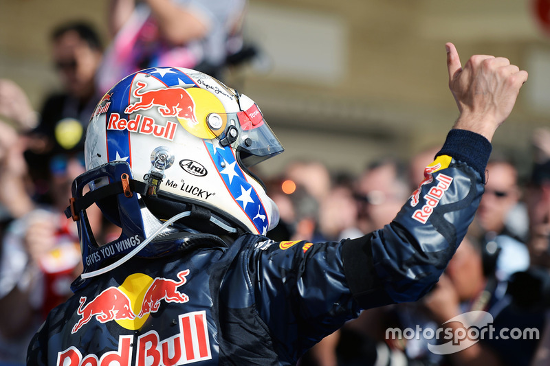 Daniel Ricciardo, Red Bull Racing celebrates his third position in parc ferme