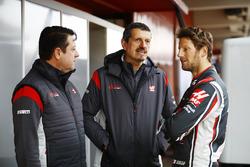 Haas-Teamchef Günther Steiner mit Romain Grosjean, Haas F1 Team