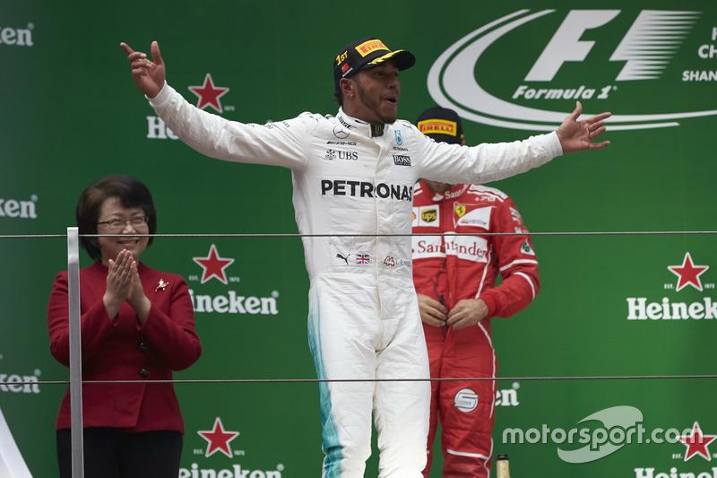 Lewis Hamilton, Mercedes AMG, on the podium