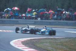 Damon Hill, Williams FW17-Renault, lotta con Michael Schumacher, Benetton B195 Renault