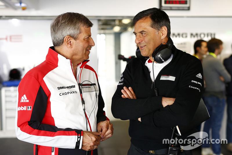 Michael Steiner, Porsche, Vorstandsmitglied; Fritz Enzinger, Porsche Team, LMP1-Leiter