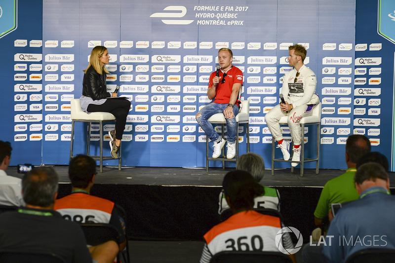 Felix Rosenqvist, Mahindra Racing, y Sam Bird, DS Virgin Racing, en la conferencia de prensa