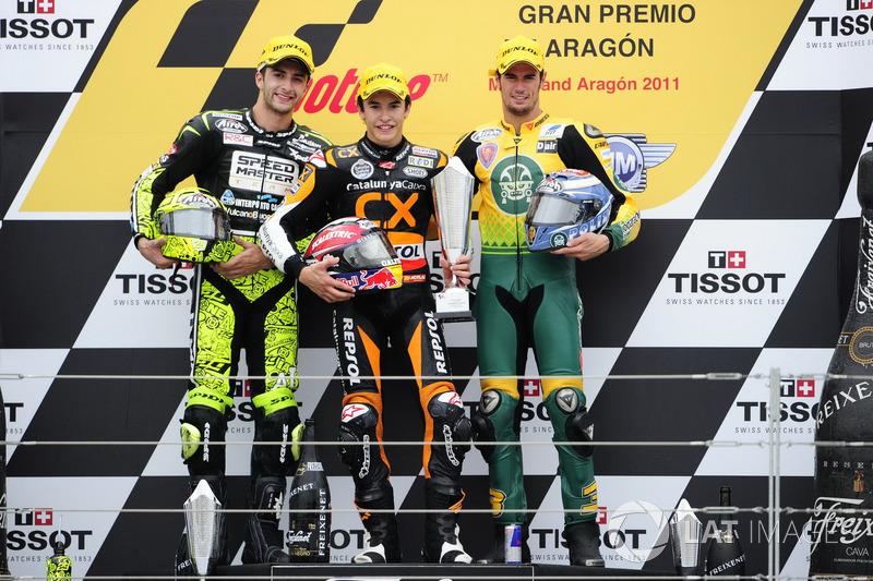 Podium: 1. Marc Marquez, 2. Andrea Iannone, 3. Simone Corsi