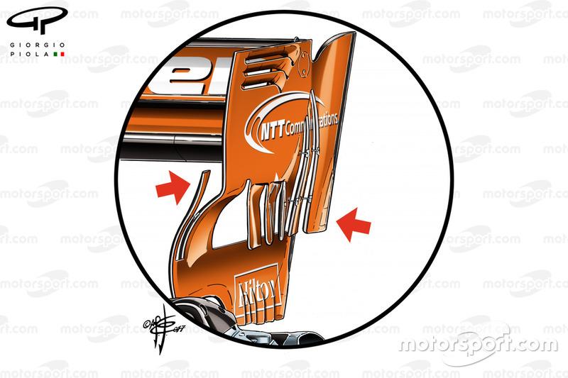 McLaren MCL32, rear wing at Bahrain GP