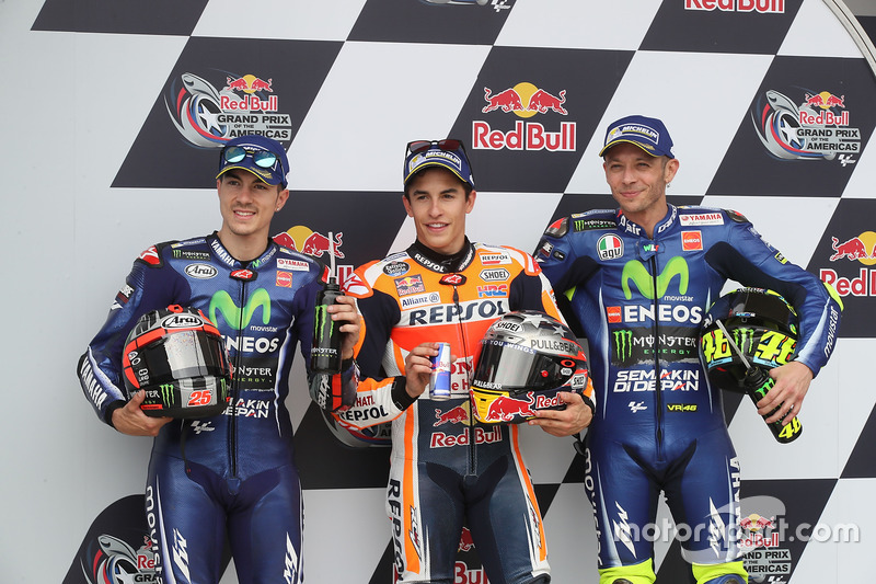 Qualifying: pole sitter Marc Marquez, Repsol Honda Team, second place Maverick Viñales, Yamaha Factory Racing, third place Valentino Rossi, Yamaha Factory Racing