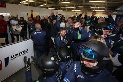 United Autosports team members celebrate the win