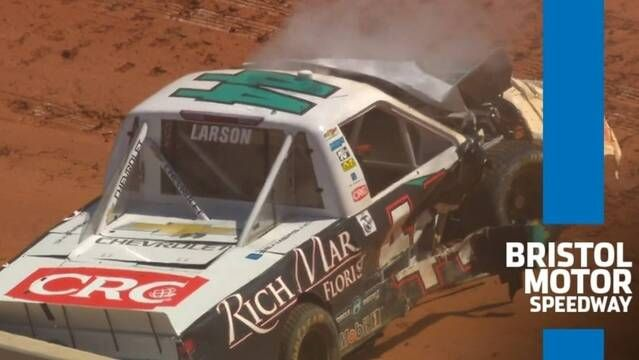 Kyle Larson wrecks out of Bristol's truck race on dirt