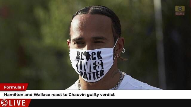 Lewis Hamilton and Bubba Wallace react to the Chauvin verdict
