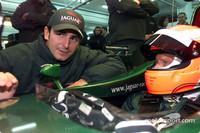 Lauda drives the Jaguar R2 at Valencia