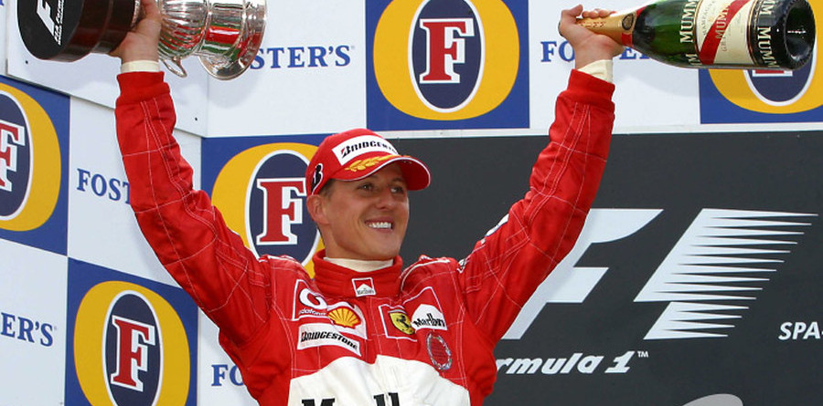 Schumacher celebrates fifth title with Ferrari