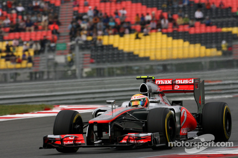 McLaren's Hamilton drove a strong lap in Q3 to qualify third at Yeongam