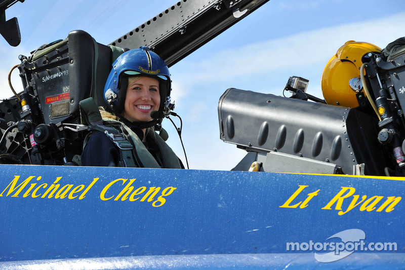 Courtney Force takes a ride with the Blue Angels