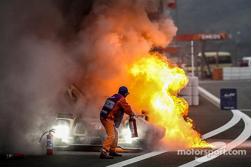 So what caused the massive fire on the Lotus CLM P1/01 at Fuji?