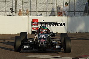 USF2000 Race report Jamin makes last lap pass on Eidson to win USF2000 at Indy