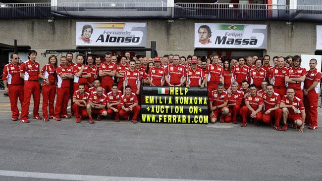 Ferrari: un messaggio di speranza ai terremotati