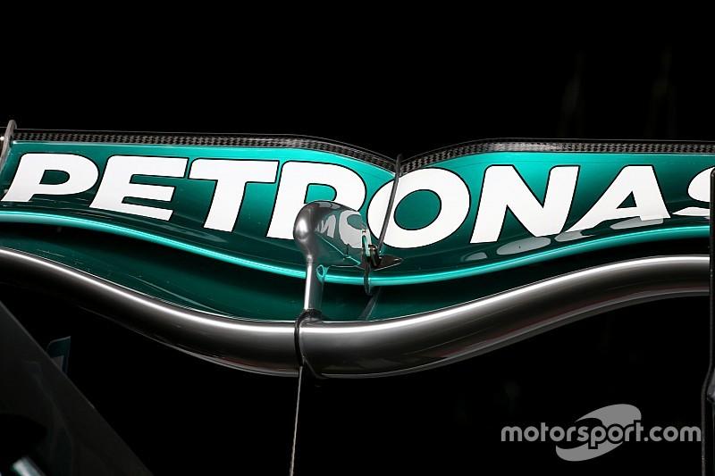 Aileron arrière inédit pour la Mercedes W06 en Belgique