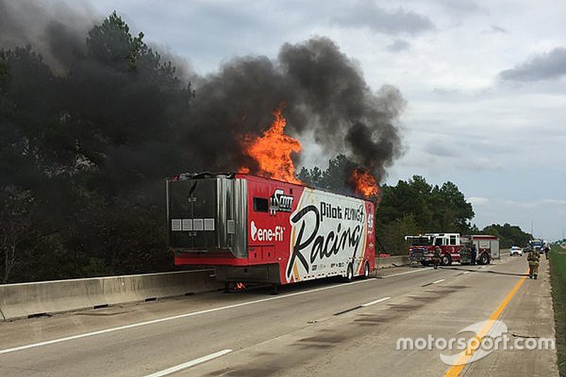Hscott Motorsports Transporter Catches Fire En Route To Texas
