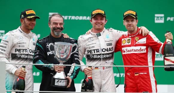 Brezilya'da podyumun en üst basamağı bir kez daha Rosberg'in oldu