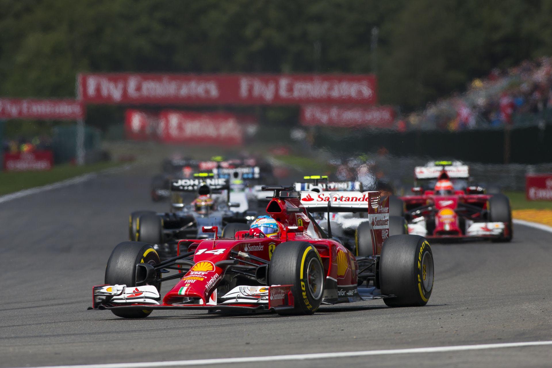 Videón Alonso startja és első köre a Belga Nagydíjról