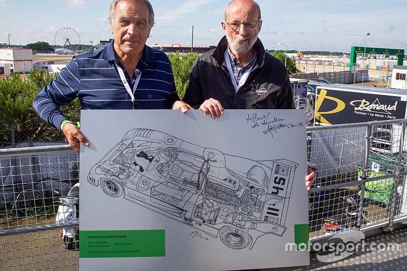 Giorgio Piola regala a Henri Pescarolo il disegno della Matra 1973