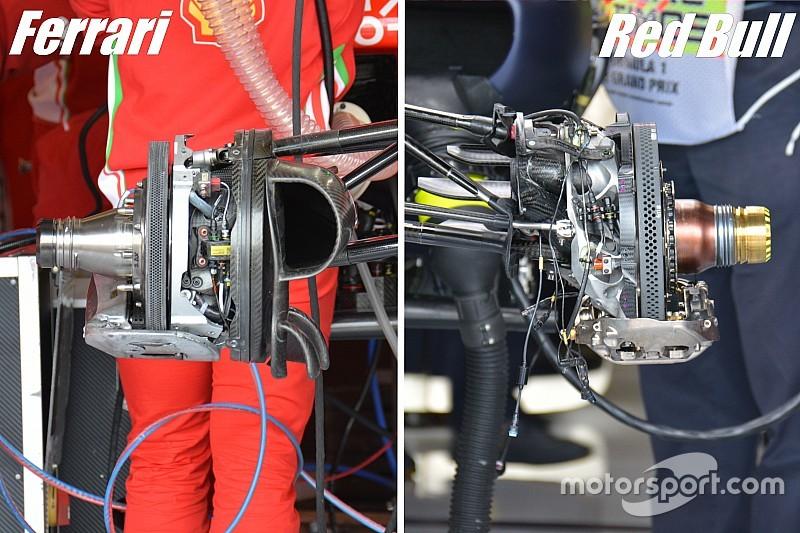 Breve análisis técnico: comparando los reglajes de frenos de Ferrari y Red Bull