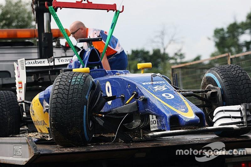 Ericsson start vanuit de pitstraat na chassiswissel