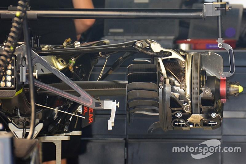 Egészen közelről a Mercedes új hátsó felfüggesztése: Hamilton folytatja vele a teszteket