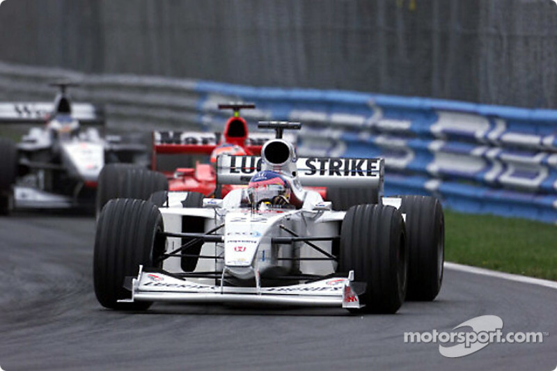 An aggressive Jacques Villeneuve in front of his public