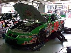Garage work on Bobby Labonte's car