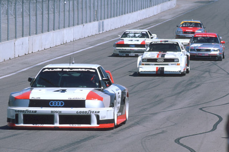 Audis in formation on the track