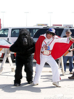 Elvis and friend in the infield