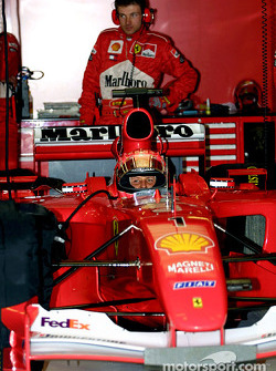 Michael Schumacher in the garage, before the race