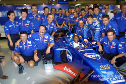 Legendary Pele with the whole Prost team