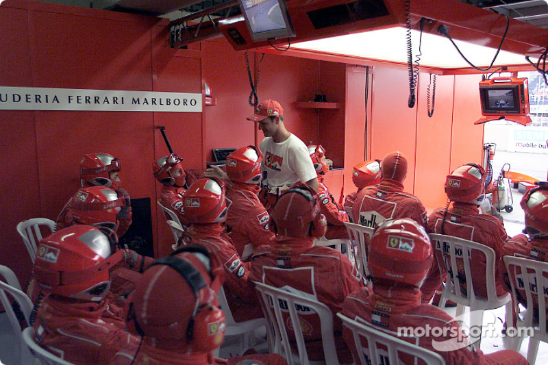 Rubens Barrichello back in the Ferrari pit