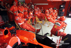 Between pitstops for the Ferrari crew