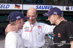 Peter Sauber and his two kids: Nick Heidfeld and Kimi Raikkonen
