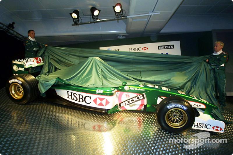Luciano Burti and Eddie Irvine unveiling the Jaguar