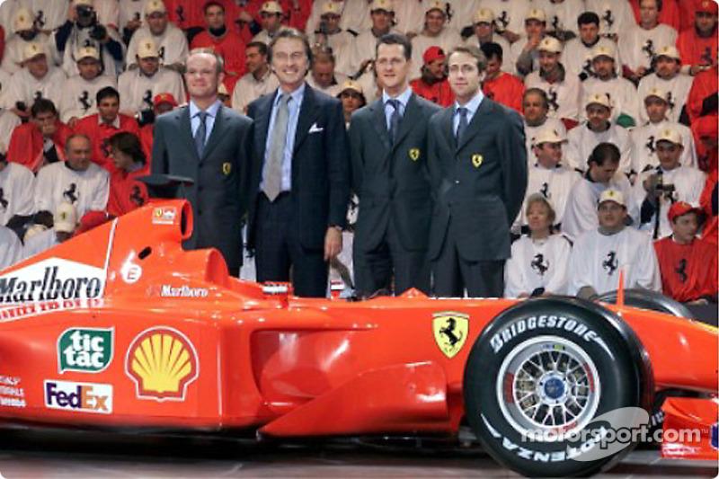Rubens Barrichello, Luca di Montezemolo, Michael Schumacher y Luca Badoer