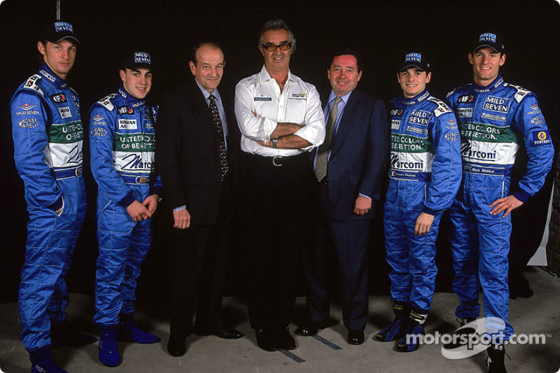 Jenson Button, Fernando Alonso, Christian Contzen, Flavio Briatore, Patrick Faure, Giancarlo Fisichella and Mark Webber
