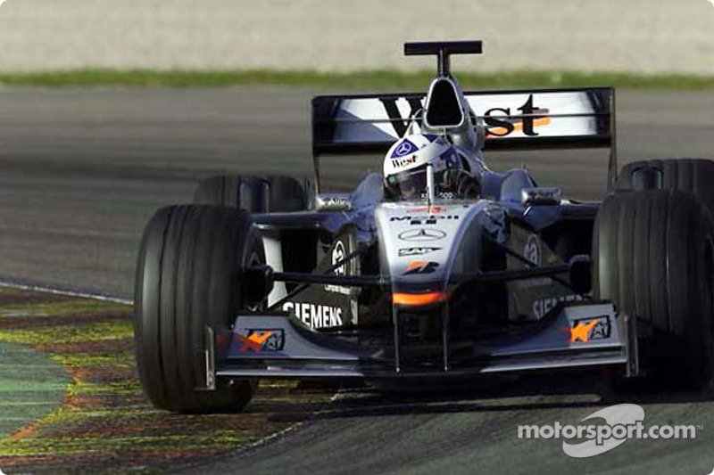 David Coulthard giving the MP4-16 its first run on the Valencia circuit