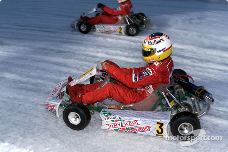Luca Badoer driving in the karting exhibition
