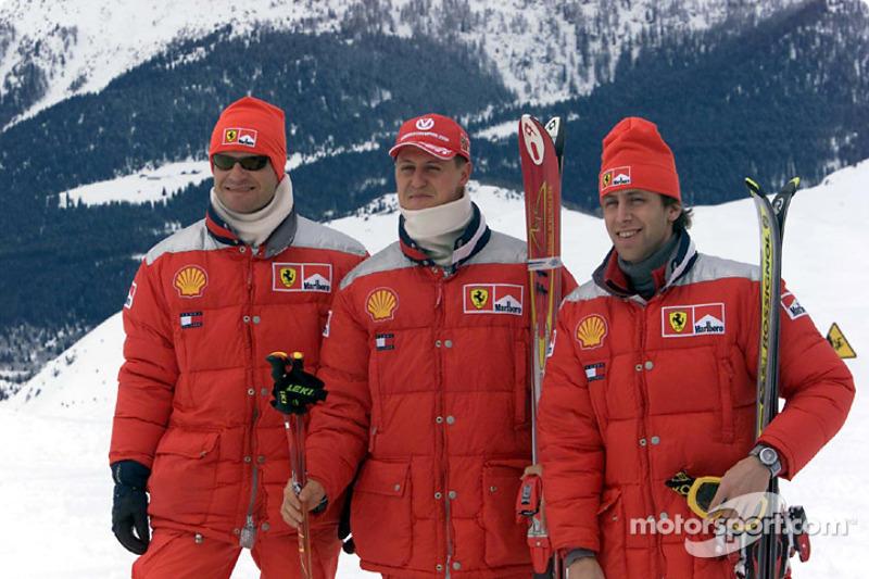 Rubens Barrichello, Michael Schumacher y Luca Badoer